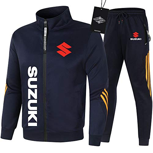 SSTYROE de Los Hombres Chandal Conjunto Trotar Traje Su-ZUki Hooded Zipper Chaqueta + Pantalones Sudadera Baloncesto Ropa Niños/blue/XXXL