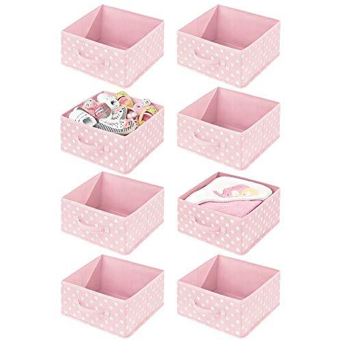 mDesign Juego de 8 Cajas organizadoras para Habitaciones Infantiles – Organizadores de armarios con asa y Parte Superior Abierta – Cajas de Tela para Juguetes en Fibra sintética – Rosa/Blanco