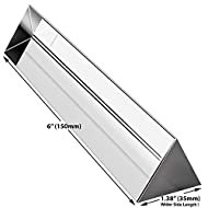 Amlong Crystal 6 inch Optical Glass Triangular Prism for Teaching Light Spectrum Physics and Photo Photography Prism, 150mm