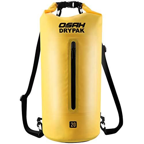 OSAH DRYPAK Borse Impermeabile Sacca Dry Bag 5L 10L 15L 20L 30L con Tracolla Regolabile per Spiaggia Sport d'Acqua Trekking Kayak Canoa Pesca Rafting Nuoto Campeggio (Giallo, 10L)