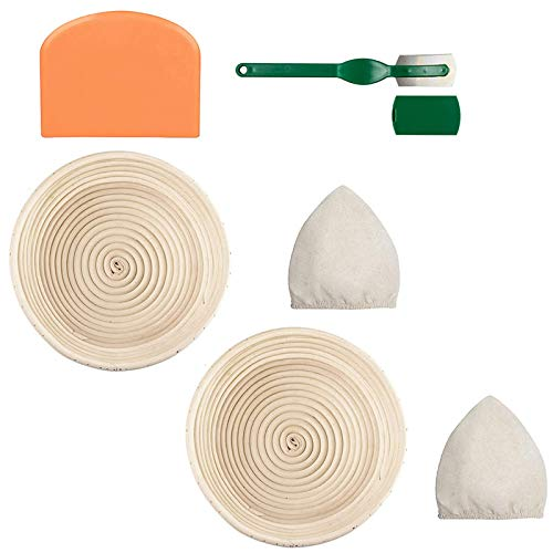 Facibom Round Bread Proofing Basket Baking Dough Rising Bowl 2 Set Sourdough Handmade Bread Baskets 9 Inch with Bread Lame Linen Liner Cloth Dough Scraper for Professional & Home Bakers