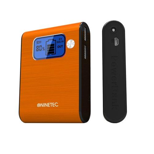 NINETEC Power Bank Akku 10.000 mAh Ladegerät extern USB für Smartphone Tablet NT-565 orange