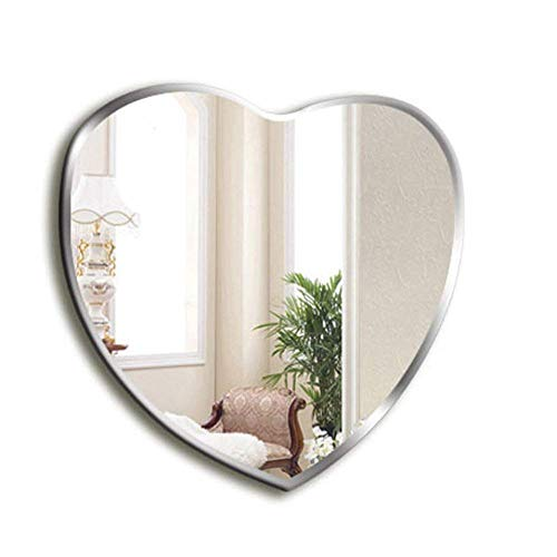 YELLAYBY Nordic Mirror Frameless Bathroom Heart-Shaped Wall-Mounted Bedroom Home Porch Makeup Hanging Size 60 64cm Makeup Mirror