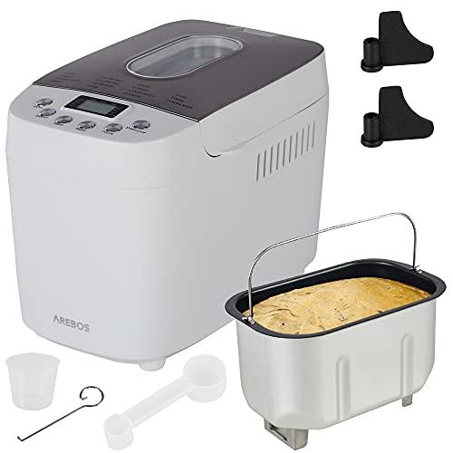 Arebos Brotbackautomat 1500g | mit 15 Programmen | 2 Knethaken | Timer | LCD Display | 3 Bräunungsgrade und Brotgrößen | 850 W | Weiß