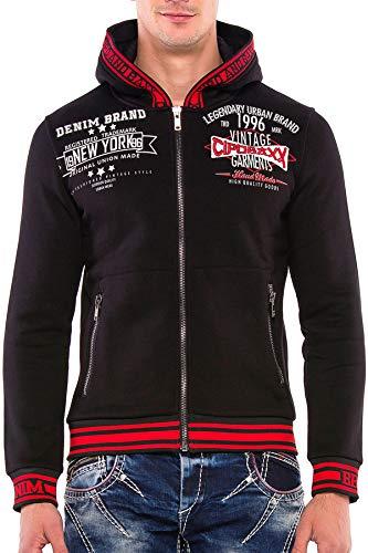 Cipo & Baxx Herren Hoodie Sweatjacke Pullover Kapuzenjacke Sweater Jacke mit Schriftzügen Schwarz M