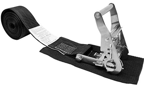 CustomTieDowns 2 Inch x 10 Foot Stainless Steel Ratchet Endless Loop Ratchet Strap (No Hooks), Protective Pad Under Buckle. (Black)