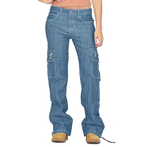 Xmiral Jeans Damen Breites Bein Denim Cargohose Große Größe Multi-Tasche Latzhose Taste Reißverschluss Länge Hosen Jogginghose(Hellblau,3XL)