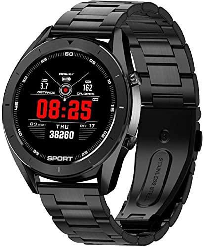 JSL Reloj inteligente Ip68 impermeable de la salud Monitoreo pulsera ejercicio podómetro monitoreo del sueño información de llamadas Push Multi-función táctil pulsera moda/negro plata l-negro acero
