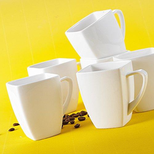 MALACASA, Serie Blance, 12 teilig Porzellan Kaffeetassen Set, Kaffeeservice CremeWeiß 350ml Tassen 4,5 Zoll / 11,5x8x10,5cm Kaffeebecher Set Bechersets für 12 Personen