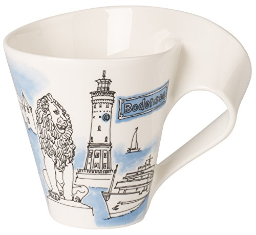 Villeroy & Boch Cities of the World Kaffeebecher Bodensee, 300 ml, Premium Porzellan, Weiß/Bunt