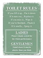 トイレルールグリーンブリキ看板ヴィンテージ錫のサイン警告注意サインートポスター安全標識警告装飾金属安全サイン面白いの個性情報サイン金属板鉄の絵表示パネル