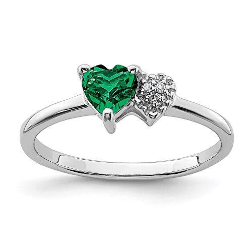 Ryan Jonathan Fine Jewelry Anillo de plata de ley, esmeralda y diamante, talla O