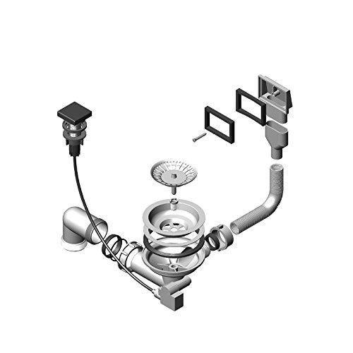 ALVEUS Überlaufventil Pop-up / Ab- und Überlaufgarnitur mit Drehexcenter für die Spülen QUADRIX und VARIANT