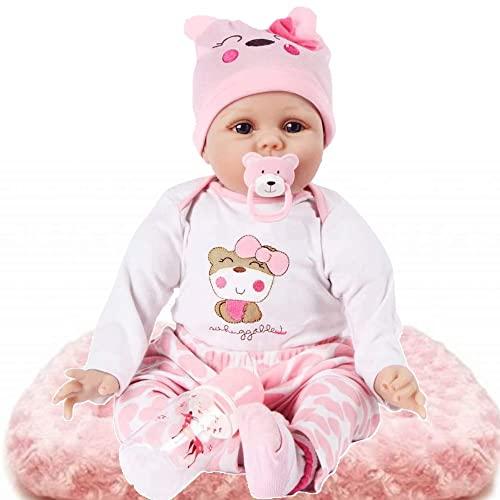 HZIXIXI Bebes Reborn Recien Nacidos - 22 Pulgadas 55 Cm BebéS Reborns Chicas De Silicona Silicona - BebéS Reborns - Mejor CumpleañOs