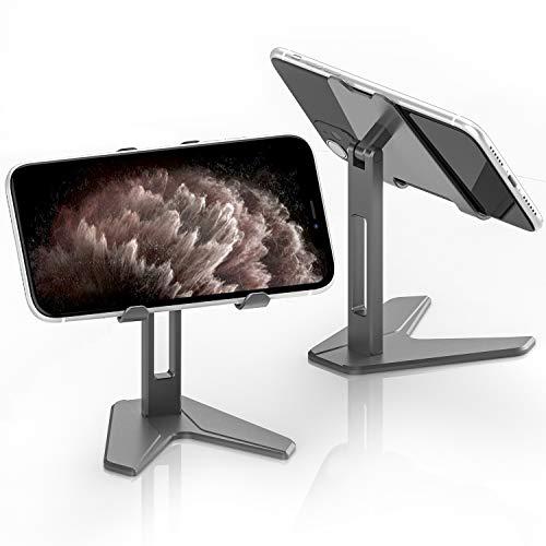 jakeT Universell Tablet Ständer Verstellbar Aluminium Handyhalterung Tisch für Smartphones und Tablets 4-7.9 Zoll Grau