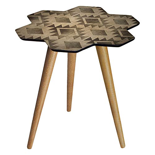 b'home Side, Small Coffee Table, Bed Side Lamp Table, Wooden Retro Design, Irregular Shaped, Living Room Bedroom, Easy To Assemble (Hexa)
