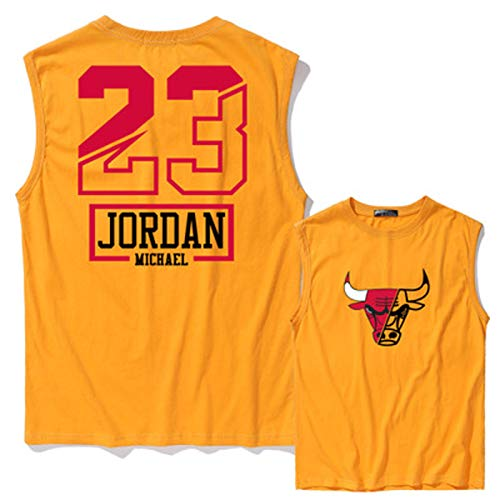 DWQ Jordania # 23 Chicago Bulls Men's Basketball Jersey, Jersey de Baloncesto Swingman, Chaleco de Camiseta de algodón, Chaleco Deportivo de Secado rápido (S ~ 3XL) Yellow-S