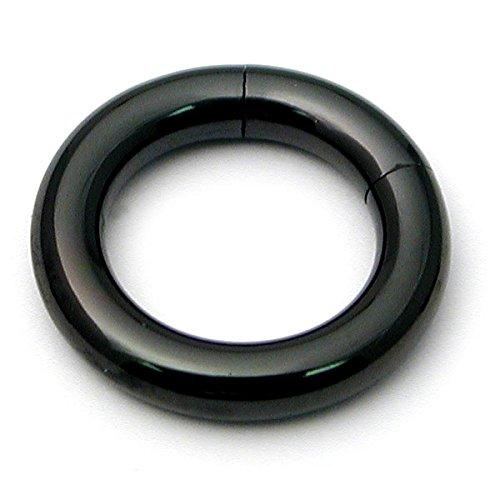 Schwarz Edelstahl glatt Segment Ring. Größe 5mm, 12mm Innen Durchmesser. Hoop Ohrstecker. Ohr Septum Nase Prince Albert PA Intimpiercing. TDI Schmuck Größe Karte im lieferumfang enthalten.