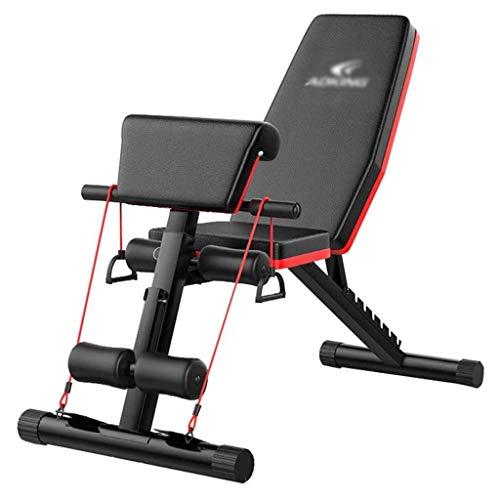 DFKDGL Banc de Musculation utilitaire robuste, bancs d\'entraînement réglables Pour l\'entraînement complet du Corps, haltère Pliable plat/incliné/déclinant Pour Les exercices de gymna
