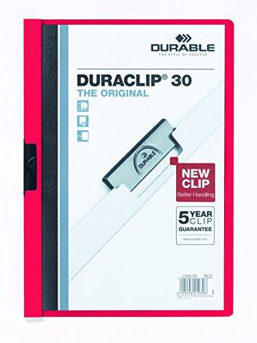 Durable Duraclip - Carpeta con 30 hojas, A4, color rojo