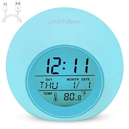 Kinderwecker, 2020 neueste Uhr mit wiederaufladbarem Akku, 7 Farbwechsel-Nachtlicht, Snooze Touch-Steuerung Temperatur für Kinderzimmer, digitale Uhr für Kinder, Mädchen, Jungen (blau)