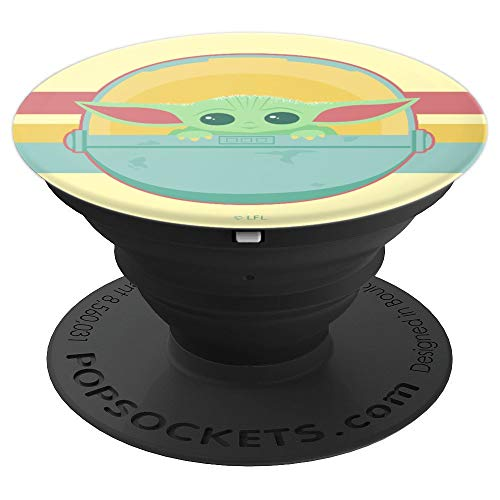 Star Wars The Mandalorian The Child Retro Rainbow Portrait PopSockets Grip and Stand for Phones and Tablets