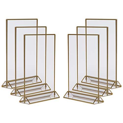 Marcos de fotos dorados de doble cara – 6 unidades – Soporte para números de mesa de acrílico dorado, caballete de mesa transparente para carteles, marcos dorados para números de mesa de boda, soporte para menús, marco de fotos, Dorado, 5x7 (6 Pack)