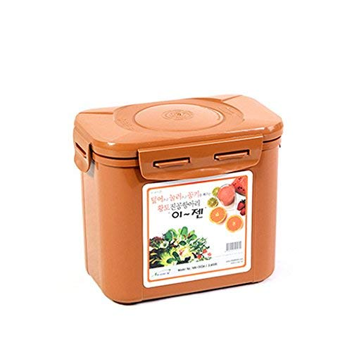 E-Jen Premium Kimchi, Sauerkraut Container Probiotic Fermentation with Inner Vacuum Lid (Earthenware Brown, 0.45 gal/ 1.7L)