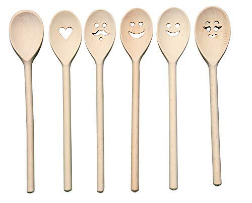 JOWE® - Juego de 6 cucharas de cocina (madera de haya, con motivos cortados con láser)