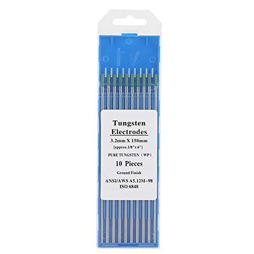 KSTE Electrodos Soldadura Tungsteno, 10pcs electrodos de tungsteno puro WP Verde Tip for soldadura TIG de CA 1.0 150mm