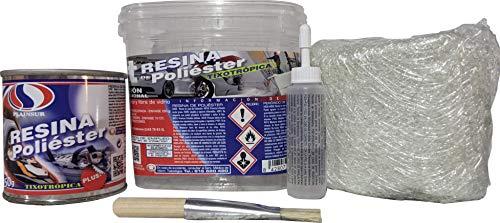 Plainsur - Kit De Reparacion Resina De Poliester Mas Fibra De Vidrio (250 Gramos, Cubo)
