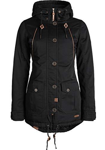 DESIRES Annabelle Damen Übergangsparka Parka Übergangsjacke Lange Jacke mit Kapuze, Größe:S, Farbe:Black (9000)