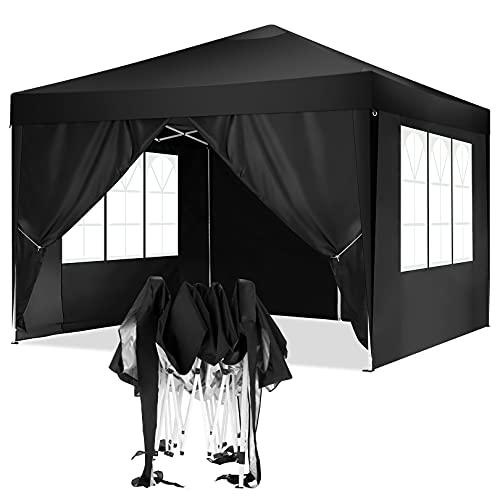 TOOLUCK 3x3 Pavillon Faltpavillon Wasserdicht Pop-Up Pavillon UV-Schutz Gartenpavillon Bierzelt mit 4 Seitenteilen, Schwarz