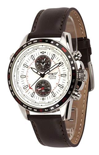 Aviator F-Series AVW78427G390 - Reloj de Pulsera para Hombre (Esfera Blanca, Correa de Piel), Color marrón
