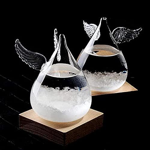 YANJ Estación meteorológica de Cristal de tormenta en Forma de Gota Transparente, Elegante Botella de Cristal de tormenta Creativa con Base de Madera para decoración y Regalos del hogar y la Oficina