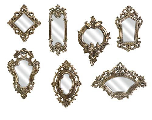 Imax 52977-7 Loletta Victorian Inspired Mirrors – Set of 7 Ornate Mirrors, Handcrafted, Vintage Inspired Hanging Mirrors. Wall Mounted Mirrors
