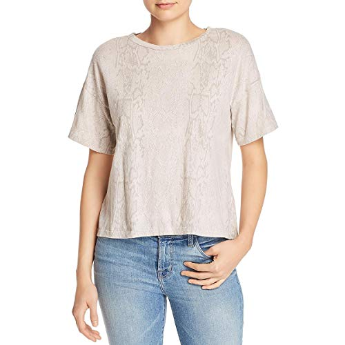 LNA Clothing Womens Jewel Neck Snake Print T-Shirt Taupe S