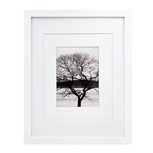 Egofine Bilderrahmen 28x36 cm 11x14 Inch weiß - aus Massivholz für den Tisch und Wand 20x25 cm/13x18 cm mit Passepartout