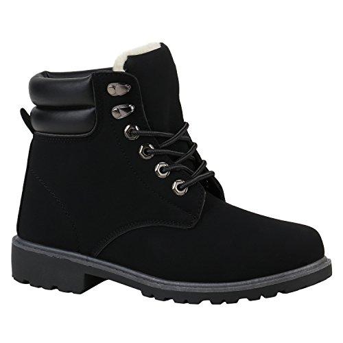Worker Boots Damen Schuhe Outdoor Stiefeletten Warm Gefüttert Bequem 152570 Schwarz Camiri 38 Flandell