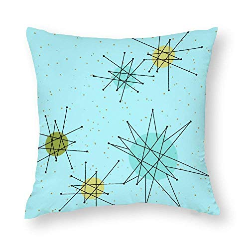 Robins Egg Blue Atomic Starbursts Accent Throw Pillow Covers Case Cushion Pillowcase with Hidden Zipper Closure for Sofa Home Decor