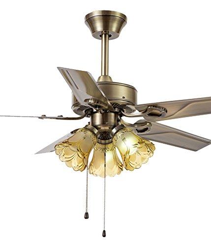 Fan lights TOYM UK Ventilador de Techo de Hierro Americano de 52 Pulgadas, Estilo Europeo, Ventilador eléctrico casero con lámpara, Comedor, Comedor, Luces de Ventilador