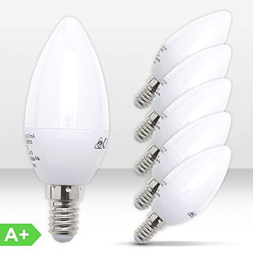 B.K.Licht 5er Set 5W LED-Birnen – Energiesparende Leuchtmittel mit E14 Fassung für drinnen – Ersetzt 40W Halogen-Lampe – Kerzenform – 470 Lumen – 3000K warmweiß
