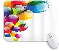 NIESIKKLAマウスパッド 誕生日のお祝いの反射とカラフルな風船 ゲーミング オフィス最適 高級感 おしゃれ 防水 耐久性が良い 滑り止めゴム底 ゲーミングなど適用 用ノートブックコンピュータマウスマット