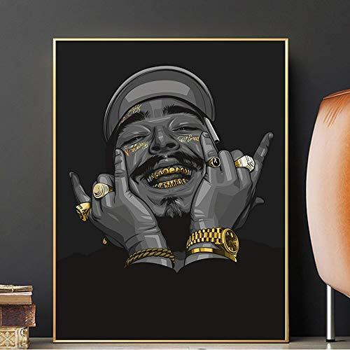 wZUN Anillo de Oro y Dientes Marlon Hip Hop Rapper Star Art Pintura Carteles e Impresiones Lienzo Cuadros de Pared para la decoración del hogar Sala de Estar 50X70CM