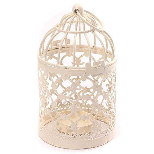 Bodhi2000 Metall Teelichthalter 1 Stück Hängelaternen Vogelkäfig Kreative Hochzeit Home Tischdekoration Beige