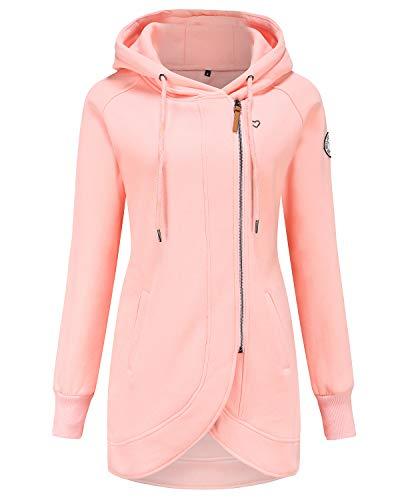 ELFIN Damen Jacken Sweatjacket Damen Sweatjacke mit Kapuze Rosa (Pink) M