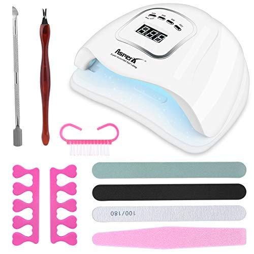 150W LED UV lámpara de uñas, Secador de uñas AsperX Kit de luz de esmalte de uñas de gel Detección automática inteligente con temporizador 10/30/60 / 99s