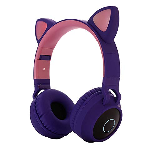 Kids Bluetooth 5.0 Cat Ear Headphones Foldable On-Ear Stereo Wireless Headset with Mic LED Light and Volume Control Support FM Radio/TF Card/Aux in Compatible with Smartphones PC Tablet (Purple)