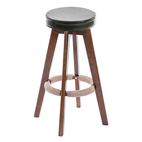 TLMY barkruk van PU-kunststof voor de keuken, donkergroen, matras | bar | CaféBarStool 4 bruin Maximum houten barkruk