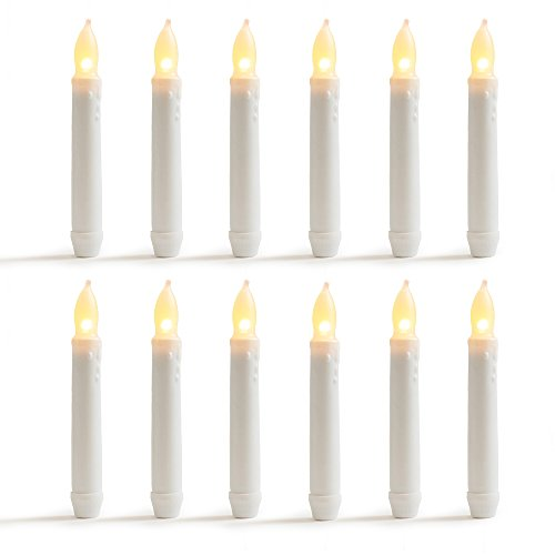WYZworks 6.25' Set of 12pcs Warm White Flameless LED Taper Candles Mini Battery Operated Wax Dipped White Body - Batteries Not Included